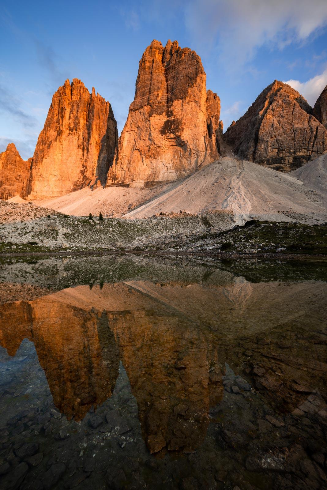 Drei Zinnen im Abendlicht, Dolomiten, Italien, Südtirol